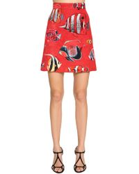 Dolce & Gabbana - Fish Printed Brocade Mini Skirt - Lyst
