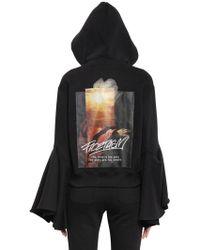 Facetasm - Hooded Flared Sleeve Cotton Sweatshirt - Lyst
