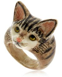 Nach - Grey Tabby Cat Ring - Lyst