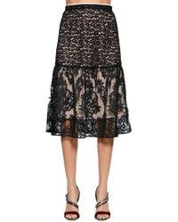N°21 - Animalier & Demask Lace Skirt - Lyst