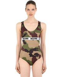 Moschino - Camouflage Logo Band Microfiber Bodysuit - Lyst