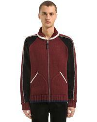 COACH Zip-up Wool Blend Knit Cardigan Jacket