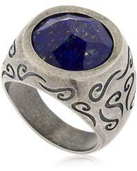 Marco Dal Maso - Ara Engraved Silver Ring W/ Lapis Lazuli - Lyst