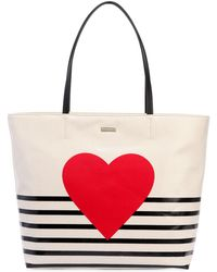 Kate Spade - Heart Stripe Hallie Canvas Tote Bag - Lyst