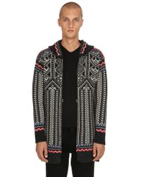 Diesel Black Gold - Hooded Wool Knit Jacquard Cardigan - Lyst
