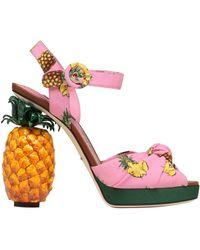 Dolce & Gabbana | Knotted Printed Crepe Platform Sandals | Lyst