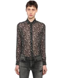 "Saint Laurent - Camicia ""etamine"" In Lana Vergine - Lyst"