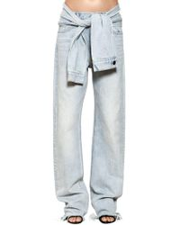 Alexander Wang - Straight Leg Denim Jeans W/ Sleeves - Lyst