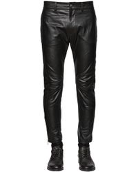 DIESEL - Slim Fit Cropped Nappa Leather Trousers - Lyst