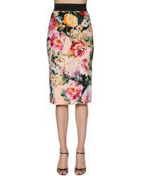 Dolce & Gabbana - Floral Print Crepe Pencil Skirt - Lyst