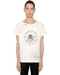 Garçons Infideles - Skull Logo Printed Ripped Jersey T-shirt - Lyst