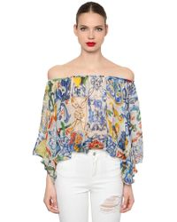 Dolce & Gabbana - Off The Shoulder Maiolica Chiffon Shirt - Lyst