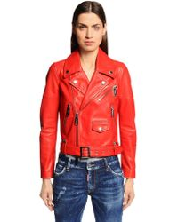 DSquared² - Nappa Leather Biker Jacket - Lyst