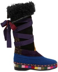 Etro - 20mm Suede & Wool Boots - Lyst