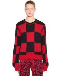 N°21 - Checkered Wool Angora Intarsia Sweater - Lyst