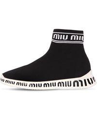 Miu Miu - Logo Sock Sneakers - Lyst
