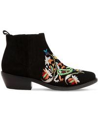 Etro - 35mm Embroidered Suede Boots - Lyst