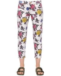 House of Holland - Rose Printed Straight Cotton Denim Jeans - Lyst