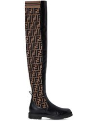 Fendi - 30mm Leather & Knit Over The Knee Boots - Lyst