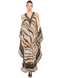 Roberto Cavalli - Open Shoulder Silk Chiffon Caftan Dress - Lyst