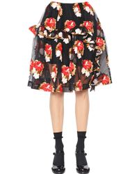 Simone Rocha - Ruffled Floral Embroidered Tulle Skirt - Lyst