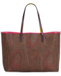 Etro - Paisley Faux Leather Tote Bag W/ Pouch - Lyst