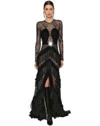 RAISA & VANESSA - Sheer Lace & Velvet Ruffled Long Dress - Lyst