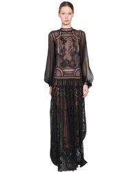 Alberta Ferretti Long Silk Chiffon & Lace Dress - Black
