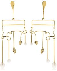 Aurelie Bidermann - Siroco Pearls & Leaves Earrings - Lyst