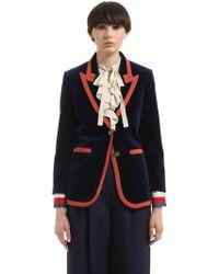 Gucci - Contrasting Color Trim Velvet Jacket - Lyst