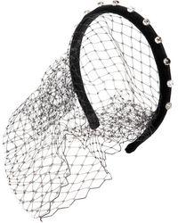 RED Valentino - Velvet Headband With Crystal & Veil - Lyst