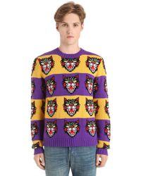 Gucci - Wool Cat Jacquard Knit Striped Sweater - Lyst