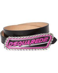 DSquared² - 24mm Embellished Logo Patch Leather Belt - Lyst