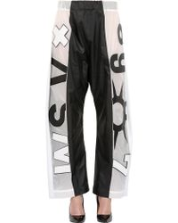 Anne Sofie Madsen - Nylon Pants With Leather Details - Lyst