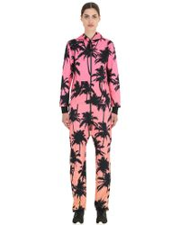 OnePiece - Palm Print French Terry Cotton Jumpsuit - Lyst