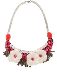 Ortys - Flower Necklace With Swarovski - Lyst