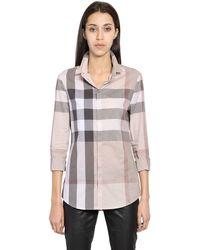 Burberry Brit - Macro Checked Cotton Shirt - Lyst