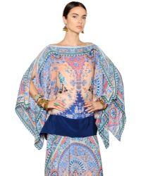 Etro - Printed Silk Georgette Caftan Top - Lyst