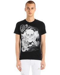 Just Cavalli - Skulls Printed Cotton Jersey T-shirt - Lyst