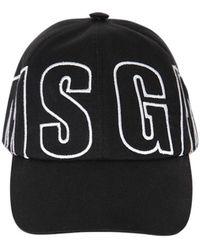 MSGM - Logo Embroidered Cotton Baseball Hat - Lyst
