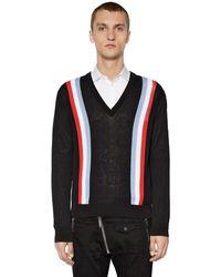 DSquared² Striped Cotton Knit Sweater - Black
