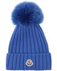 24b5e953bb6 Moncler - Wool Knit Beanie Hat W  Fox Pompom - Lyst