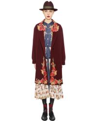 Antonio Marras - Floral Embroidery Wool Blend Velour Coat - Lyst