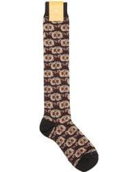 Etro - Owls Cotton Blend Intarsia Socks - Lyst