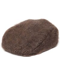 Lardini - Brushed Wool Mohair Herringbone Flat Cap - Lyst