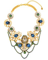Halo - Onyx & Crystal Statement Necklace - Lyst