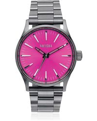 Nixon - Sentry 38 Ss Watch With Pink Dial - Lyst