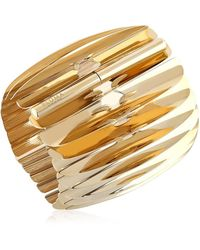 Pluma - Gold Plated Fishbone Bangle - Lyst