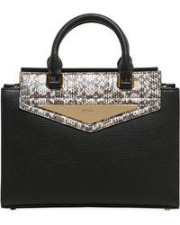 Vionnet - Elaphe & Grained Leather Top Handle Bag - Lyst