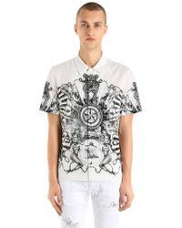 Just Cavalli - Stretch Light Canvas Short Sleeve Shirt - Lyst